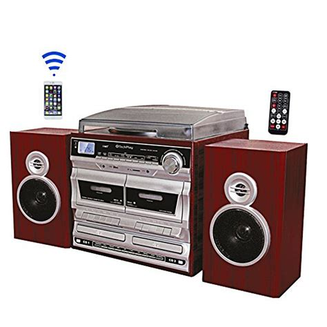 cd cassette player tech play 97096715m am fm karaoke turntable
