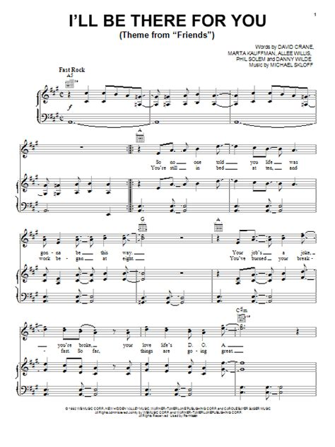 theme music in theri i ll be there for you theme from quot friends quot sheet music