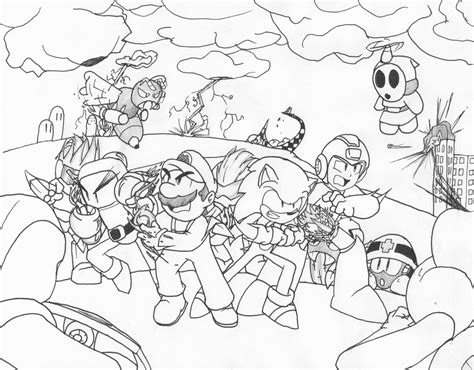 free coloring pages of mario and sonic and kirby