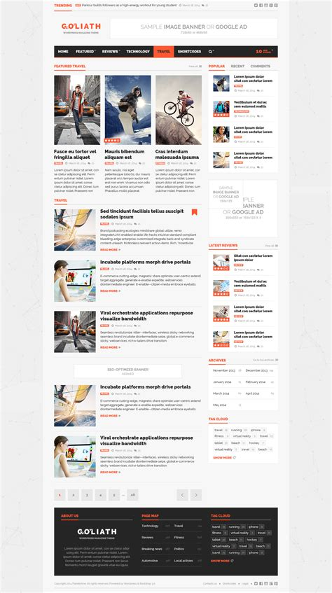 bootstrap feed template goliath ads optimized news reviews magazine by