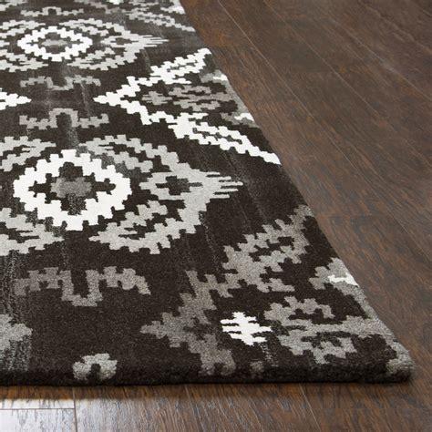 fleece area rug suffolk ikat medallion wool area rug in black 9 x 12