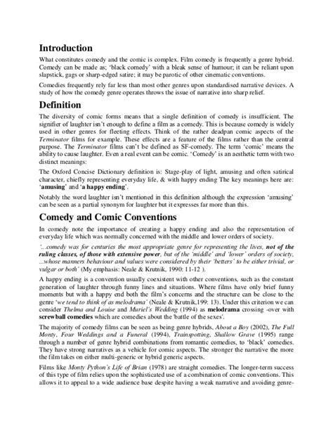 Comedy Film Essay | comedy conventions essay