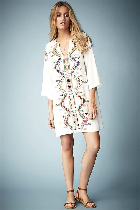 Kate Moss Premieres Dresses For Topshop by Lyst Topshop Embroidered Smock Dress By Kate Moss For In