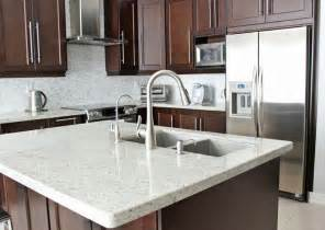 White Kitchen Cabinets Granite Countertops Medium Brown Cabinets With White Quartz Countertop
