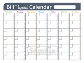 Calendar Bills Free Printable Template Blank Calendar 2017