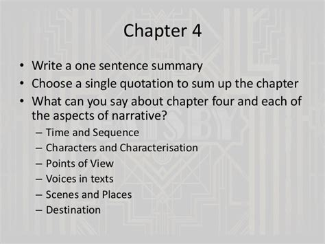 themes great gatsby chapter 1 the great gatsby chapters 4 and 5