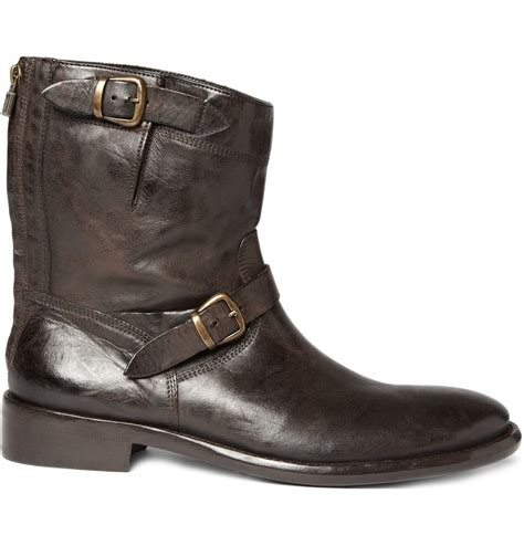 belstaff boots mens belstaff barkmaster worn leather boots in brown for lyst