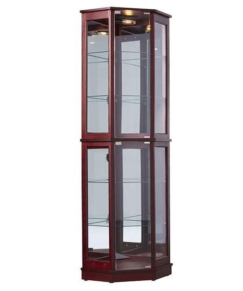 Curio Cabinet Lighting by Floor Standing Corner Curio Cabinet Glass Mirrored Back