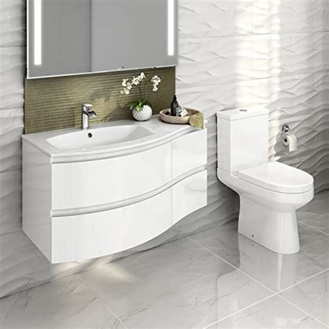 White Bathroom Suites Sale by Gloss White Bathroom Suite Two Curved Wall Hung