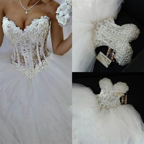 brautkleider corsage luxurious bling strapless wedding dresses corset bodice