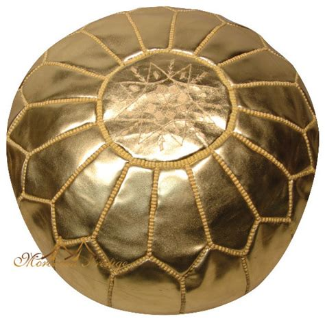 Gold Leather Poufs Moroccan Pouf Moroccan Ottoman Floor Gold Ottomans