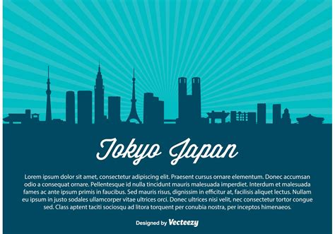 tokyo skyline vector illustration   vector