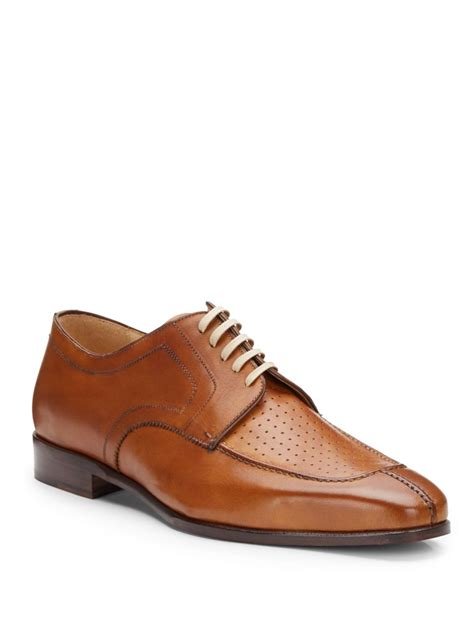 saks fifth avenue black label leather algonquin split toe