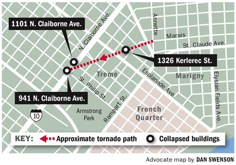 map of new orleans damage nws no warning for new orleans tornado because it was