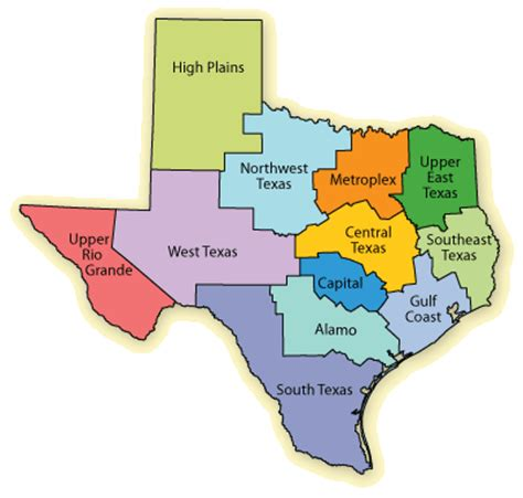 city map of texas by regions texas regions map