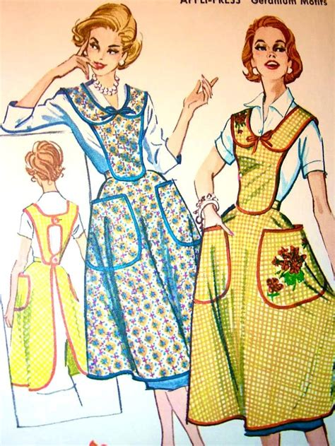 pattern bib apron vintage mccall s pattern 2227 bib apron with geranium