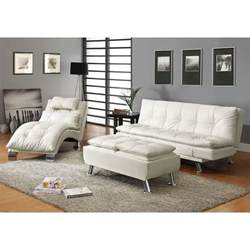 Contemporary Futon Sofa Bed Coaster Furniture 300291 Contemporary Futon Sleeper Sofa Bed In White With Casual Seam Stitching