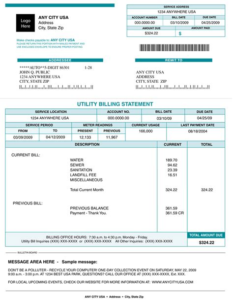 Reading A Utility Bill Electric Bill Template