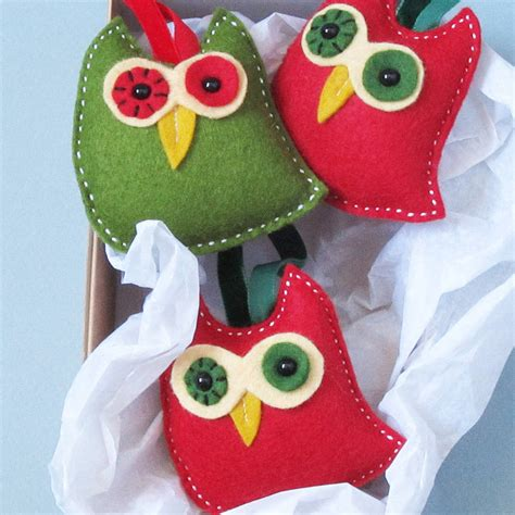 three handmade felt owl christmas decorations by