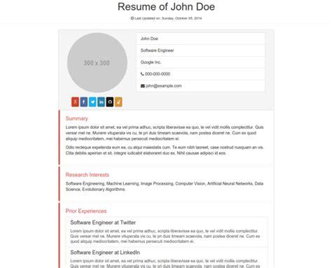 bootstrap resume template 5 bootstrap templates gratuits pour ameliorer votre site