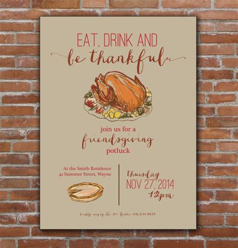 Thanksgiving Friendsgiving Invitation Custom Printable Thanksgiving Potluck Invitation Template Free Printable