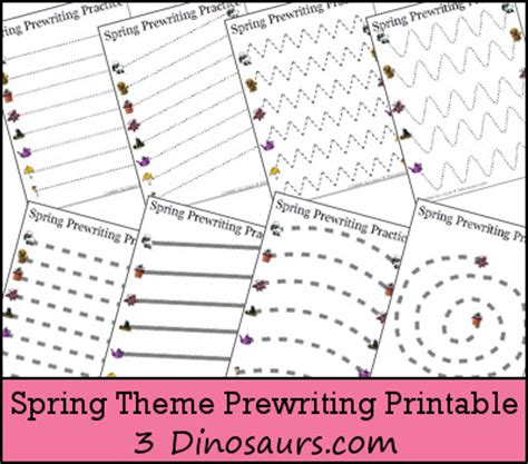 index of images printables spring free spring theme prewriting printable 3 dinosaurs