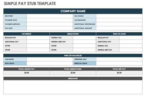 Free Pay Stub Templates Smartsheet Free Payroll Pay Stub Template