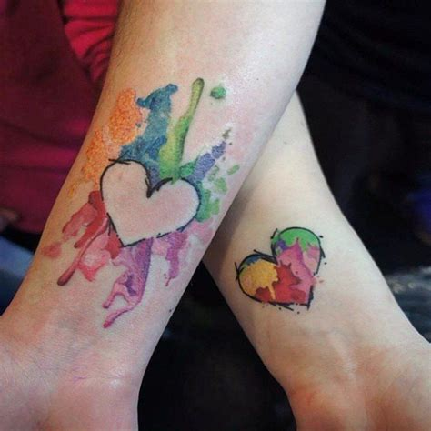 watercolor tattoo for couples 17 watercolor hearts meaningful tattoos for couples