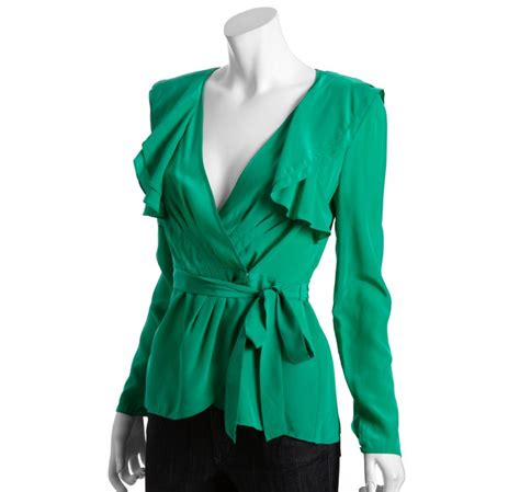 bcbgmaxazria emerald silk wrap ruffle blouse in green emerald lyst