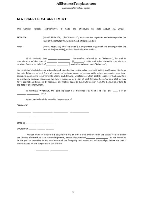 Free General Release Form Templates At Allbusinesstemplates Com Generic Release Form Template
