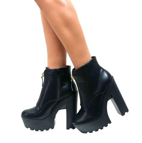 high heel biker boots womens new black platform chunky block high heel