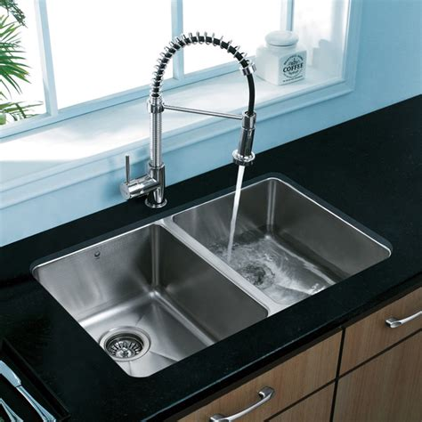 Double Sink Kitchen | vigo premium collection double kitchen sink faucet