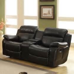 Black Leather Recliner Sofas by Darrin Leather Reclining Loveseat With Console Black