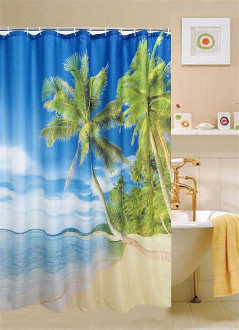 beach fabric shower curtain cebu fabric shower curtain beach view sky blue printed
