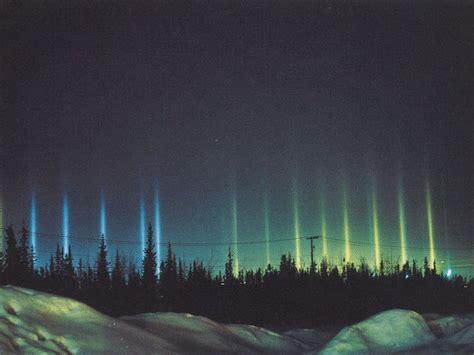 light pillars apod 2006 march 5 colorful light pillars