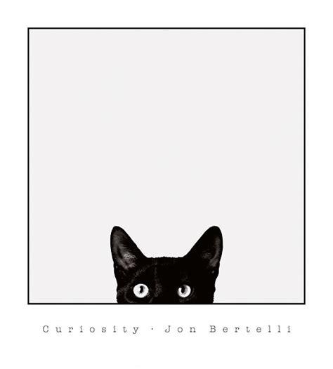 printable cat poster curiosity by jon bertelli art print framed unframed at