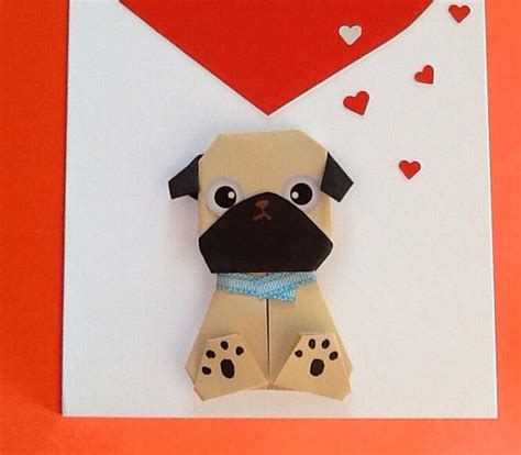 how to make an origami pug origami pug card with handmade card by