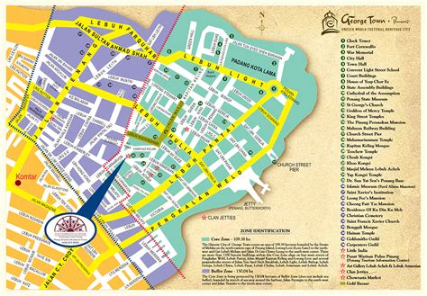 printable map georgetown penang georgetown heritage map
