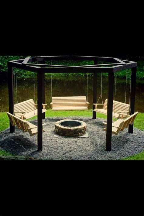 hexagon fire pit swing relaxing swings around fire pit great idea we d likely