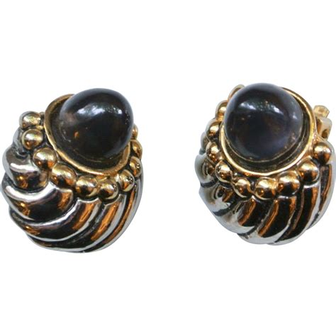 fabulous vintage sapphire cabochon clip on earrings from
