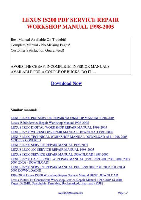 download car manuals pdf free 2000 lexus es navigation system lexus is200 service repair workshop manual 1998 2005 pdf by ging tang issuu