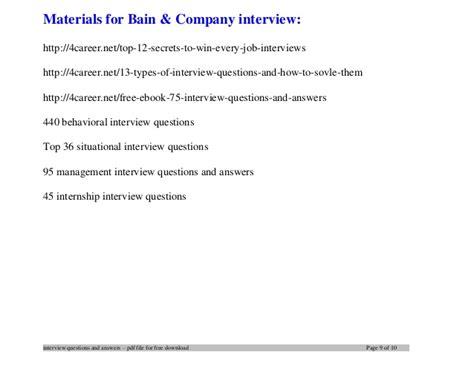 Bain Mba Internship Salary by Bain Company Questions And Answers