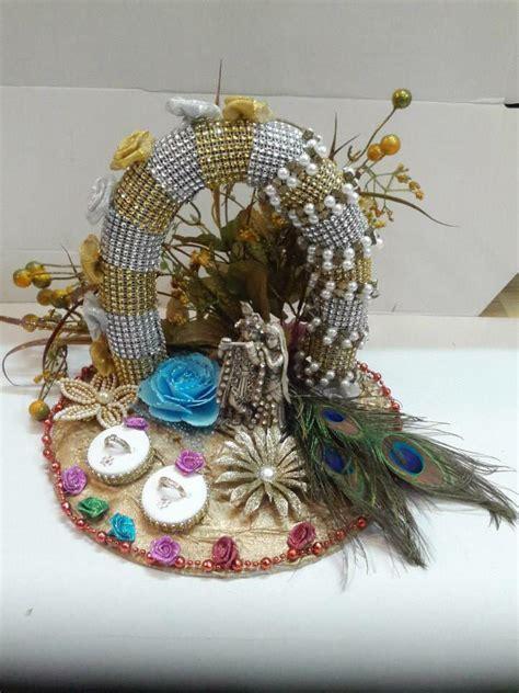 Handmade Saree Packing Trays - radha and kishan ring platter saree packing
