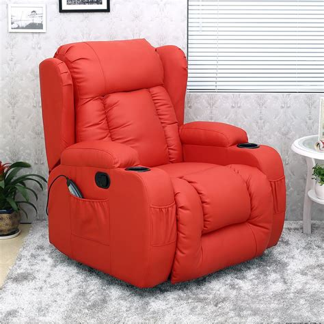 red leather swivel recliner chair caesar red winged leather recliner chair rocking massage