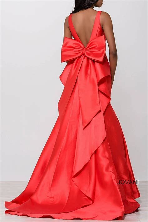 Back Bow Dress fuchsia mermaid v neck back bow detail prom dress