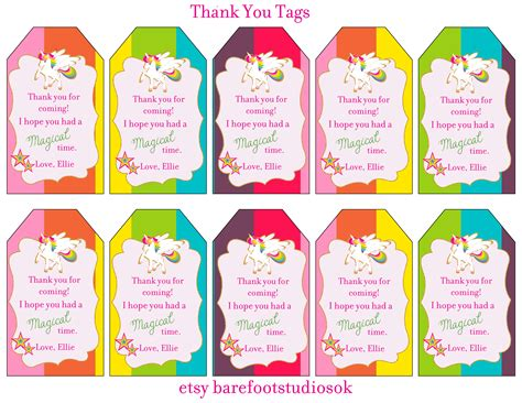 printable unicorn thank you tags rainbow unicorn printable thank you tags baby showers