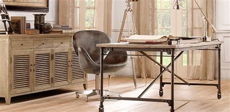 iron wood desk restoration hardware home decor ideas