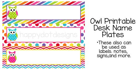 Template For Student Desk Name Cards Free by 7 Best Images Of Owl Tables Labels Printable Free