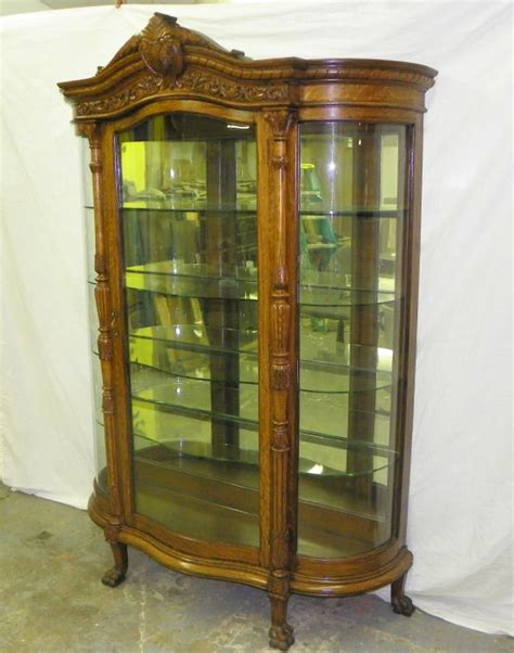 antique large oak curved glass curio china cabinet ebay