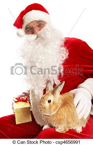 stock photography of year of rabbit photo of happy santa